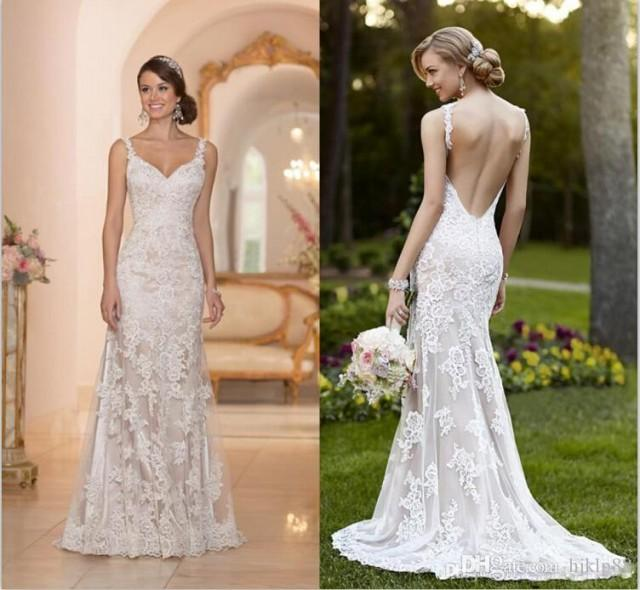 Elegant Stella York Inspired Ivory White Lace Wedding Dresses 2015 Backless Trumpet Mermaid Sweetheart Appliques Sweep Train Bridal Gown Online With