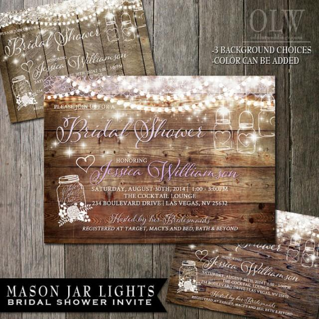 Mason Jar Bridal Shower Invitation Rustic Wood With White