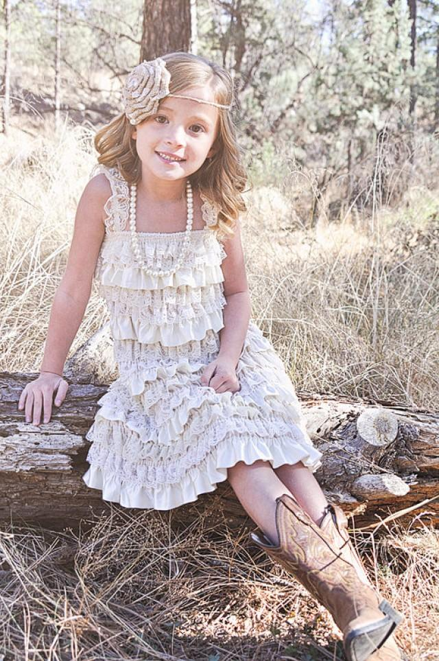 Rustic Country Flower Girl Dress Lace Pettidress Champagne Shabby Chic Wedding Burlap 2245001