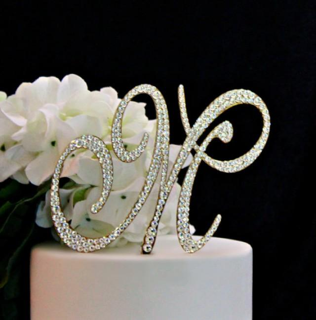 L I N K S C R I P T B U M B B L E G U M H T T P M E G A U R L I N T G H B B C: Monogram GOLD Wedding Cake Topper Decorated With Swarovski