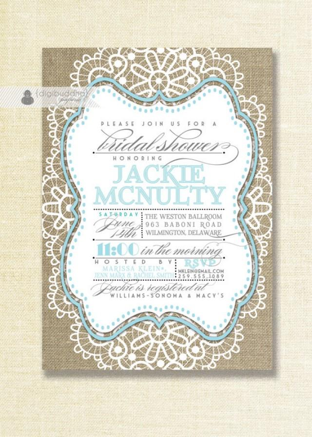 Lace Burlap Bridal Shower Invitation Mason Jar Blue Robins Egg ...
