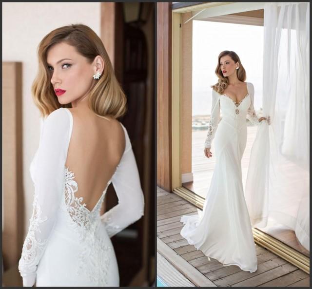 Spring long sleeve julie vino 2015 garden wedding dresses for T back wedding dress