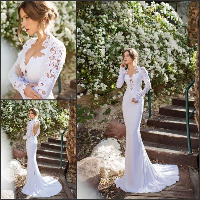 Wedding Dress Back Pinterest: Long Sleeve Julie Vino 2015 Mermaid Lace Wedding Dresses