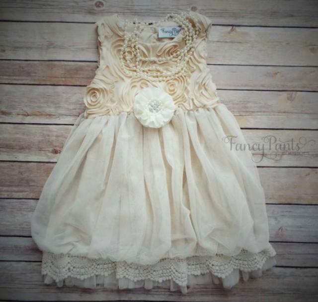 beige toddler girls dress vintage dress flower girl