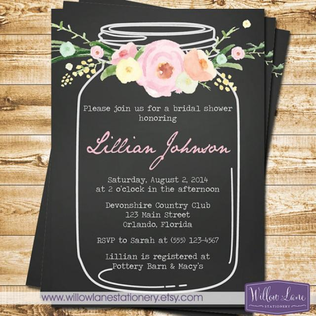 vintage mason jar bridal shower invitation pink flowers blue mason jar bridal shower invite chalkboard wedding shower 1324 printable 2245460 weddbook