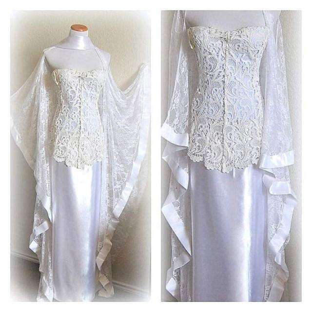Kimono Wedding Gown: Lace Wedding Gown Cold Shoulder Wedding Dress Oversize