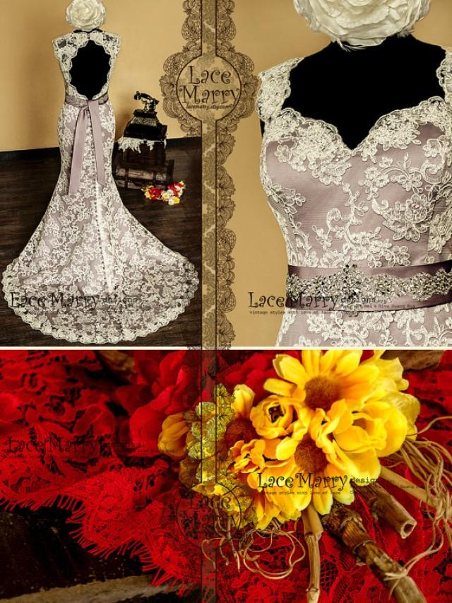 Baroque dusty purple underlay vintage style lace wedding for Beaded vintage style wedding dresses