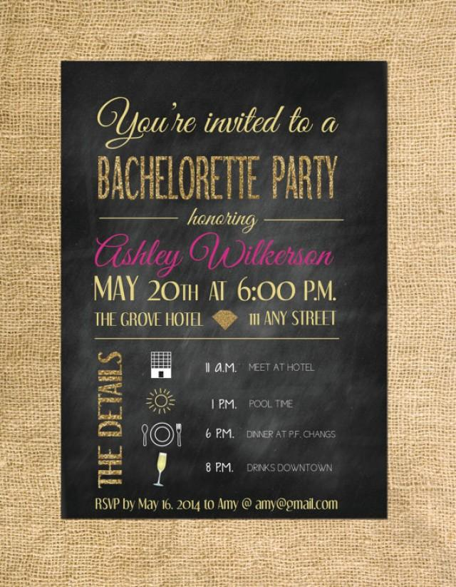 Bachelorette Party Invitation- Glitter And Gold Party Theme ...