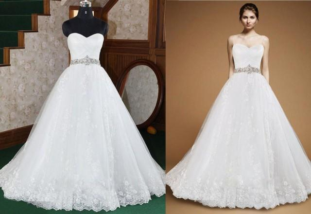 Actual pictures crystal beaded sash a line wedding dresses for Sweetheart strapless a line wedding dress