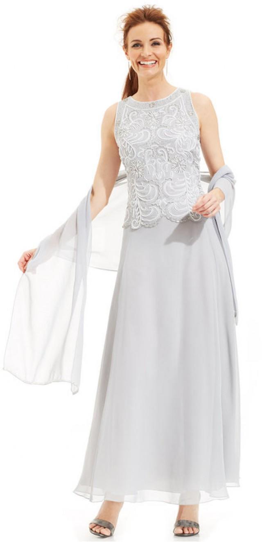J Kara Beaded Bodice Chiffon Gown And Shawl #2245990 - Weddbook
