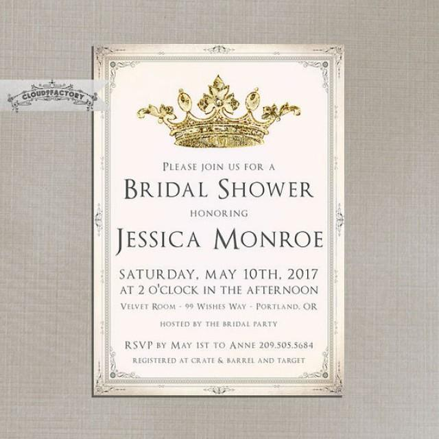 blush pink and gold bridal shower invitations fancy crown princess, Birthday invitations