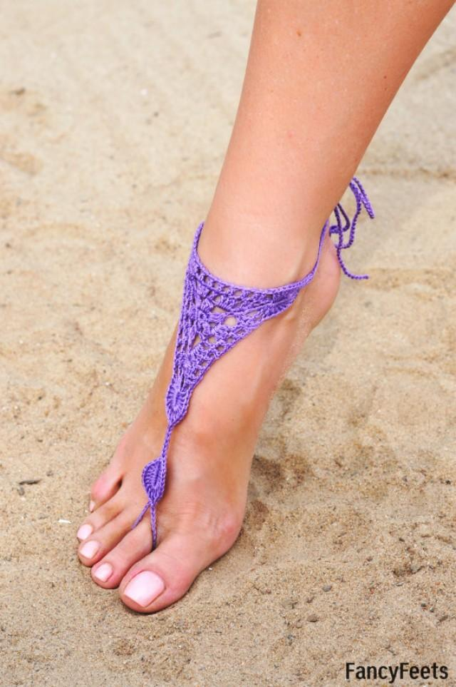 Beach wedding barefoot sandal crochet share