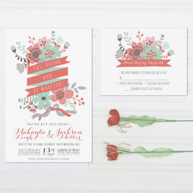 Coral And Mint Wedding Invitations: Unique Wedding Invitations, Eat, Drink And Be Married