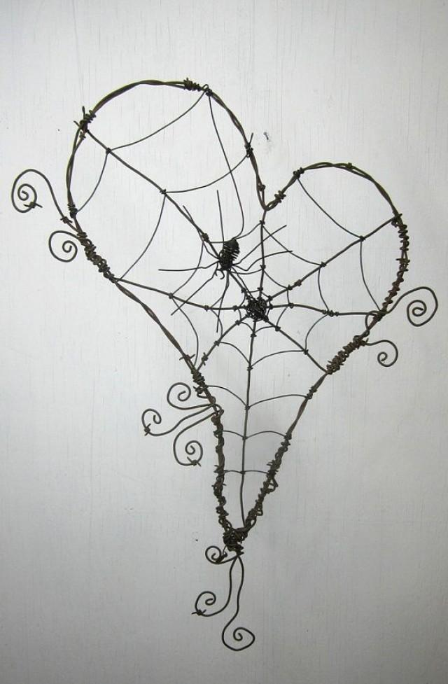 Wonky Barbed Wire Heart With Spider Web And Spider Made To Order ...