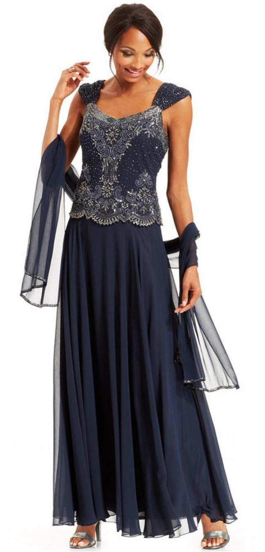 J Kara Beaded Bodice Chiffon Gown And Shawl #2247477 - Weddbook