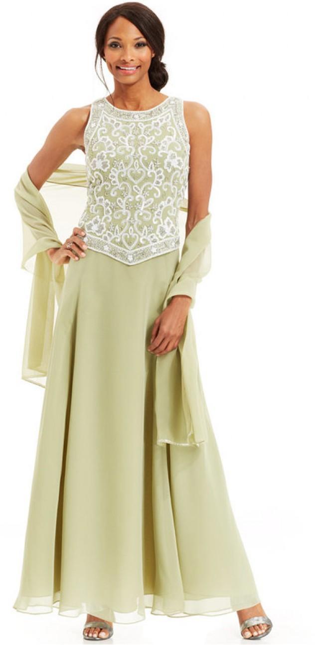 J Kara Beaded Bodice Chiffon Gown And Shawl #2247478 - Weddbook
