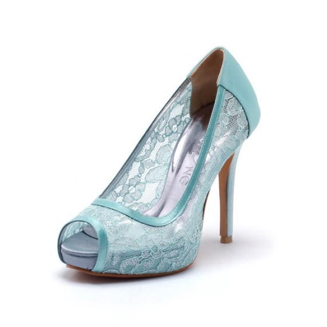 Sweet Memory, Tiffany Blue Lace Wedding Shoes,Tiffany Blue