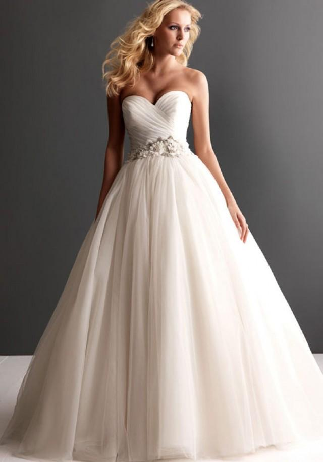 Ruched Strapless Tulle Ball Gown Wedding Dress