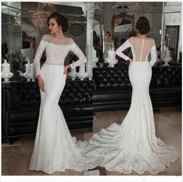 2015 New Elegant Full Long Sleeves Mermaid Wedding Dresses: 2015 Vitange Sexy Sheer Neck Wedding Dresses Belt Full