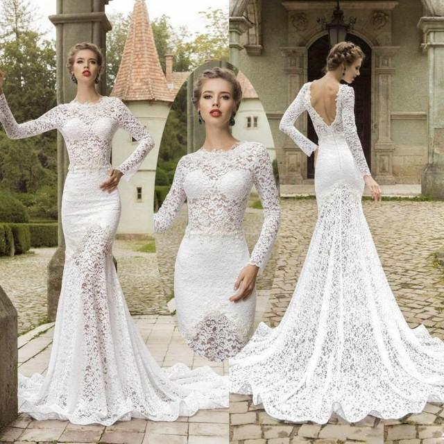 Elegant And Simple Wedding Dresses Long Sleeve Lace: Elegant Long Sleeve Lace Mermaid Wedding Dresses Backless