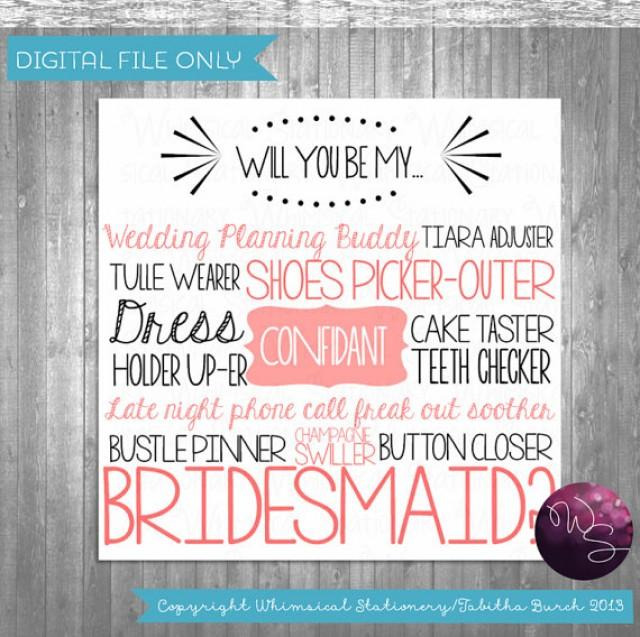 This is an image of Clever Bridesmaid Proposal Printable