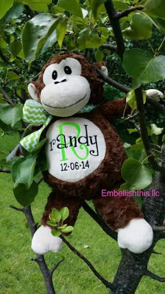 Monogrammed Monkey Stuffed Animal Plush Monkey Baby Shower