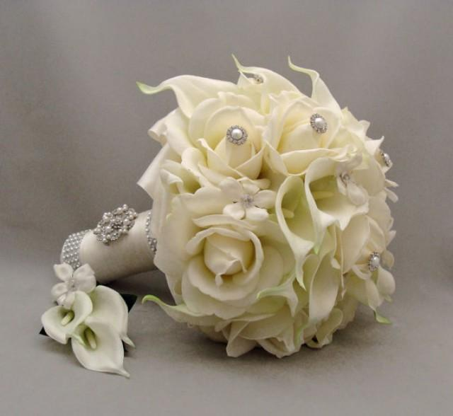 Reserved - Bridal Bouquet Stephanotis Real Touch Roses Calla Lilies ...