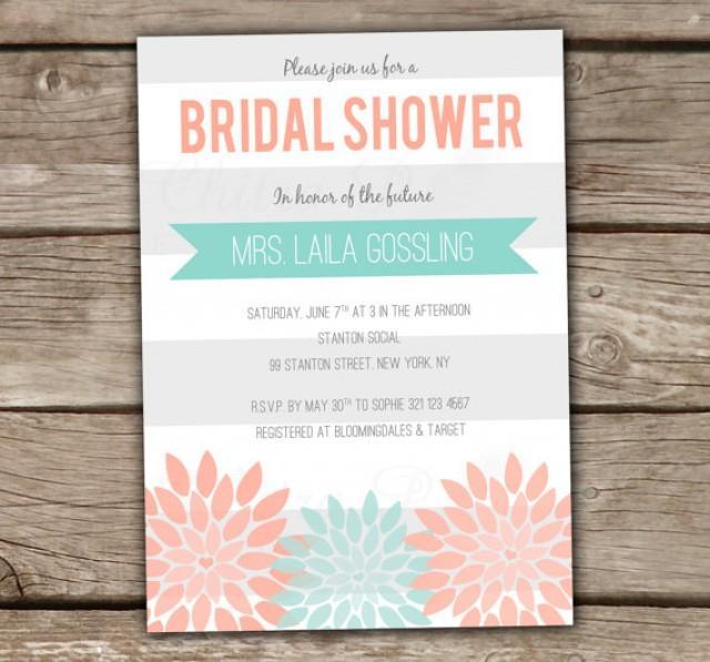 Mint Amp Coral Bridal Shower Invitation