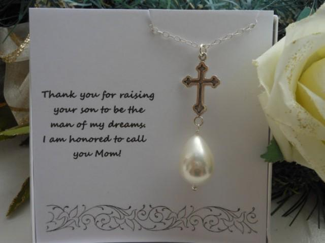 Wedding Gift For Mother In Law: Mother Of The Groom Gift, Silver Cross, Pearl Necklace