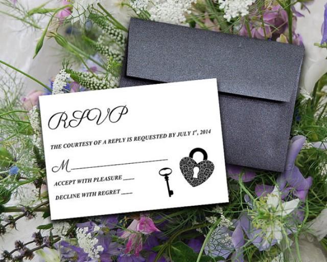 "Key Themed Wedding Invitations: DIY Wedding Template Response Card ""Key To My Heart"