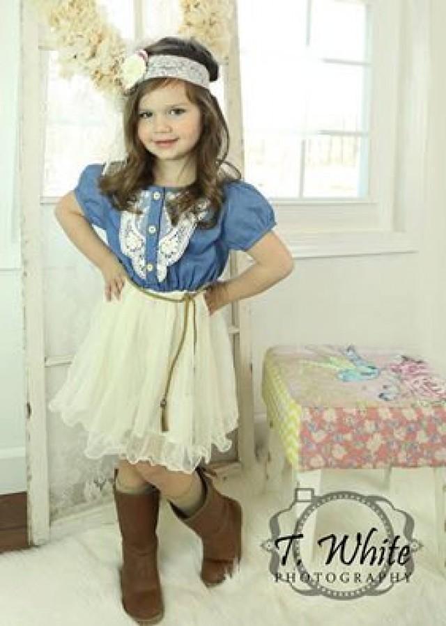 Denim Toddler Girls Tutu Dress, Vintage Dress, Rustic Flower Girl ...