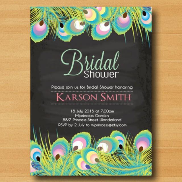 bridal shower invitation wedding shower invitation chalkboard peacock feather invitation chic invitation card design card 384 2249979 weddbook