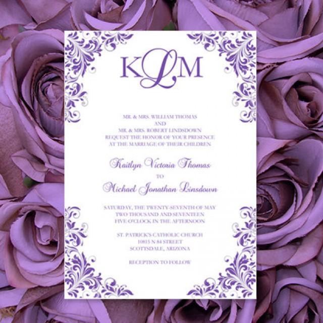 """Purple Wedding Invitations """"Kaitlyn"""" Printable Templates"""