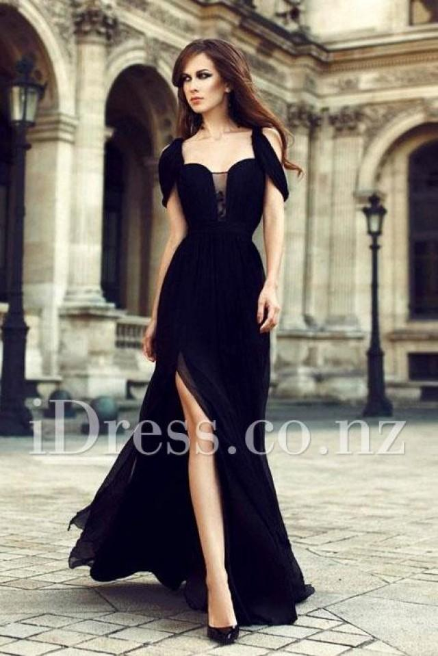 Sexy Peek A Boo Sleeve Black Formal Evening Dress With Slit 2250066