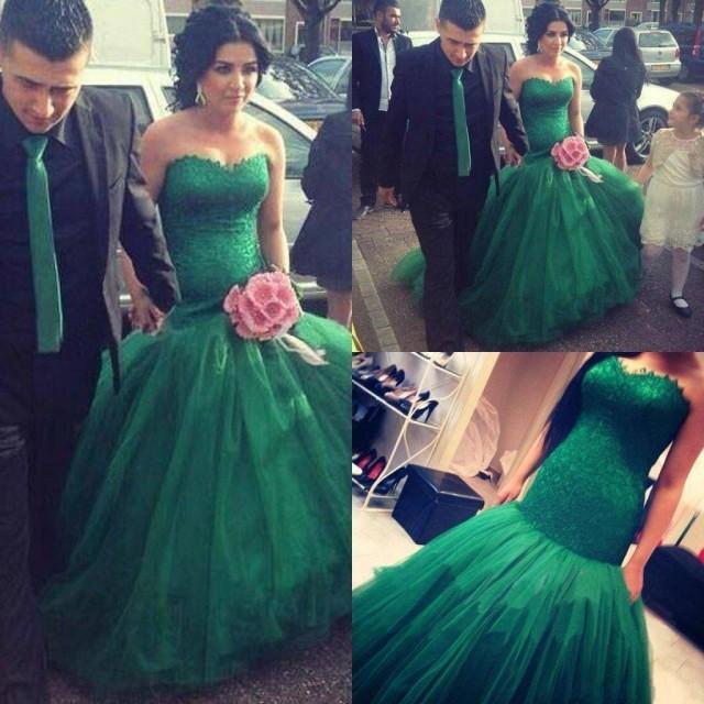 New Style Dark Green Organza Lace Wedding Dresses 2015 Fashion ...