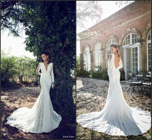 Wedding dresses 2015 deep v neck sexy long sleeve lace and for Garden party wedding dress