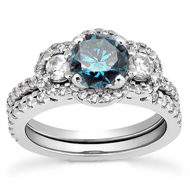 Matching Diamond Engagement And Wedding Ring 1 46ct: 1.75CT 3-Stone Blue Diamond Engagement Ring Matching