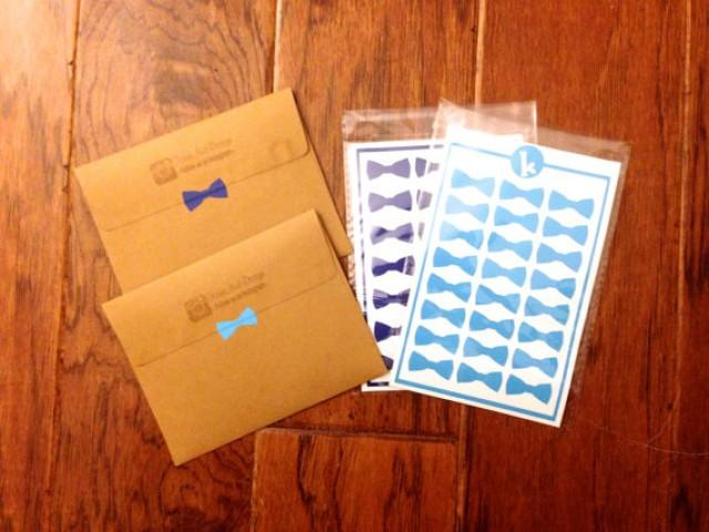 Seal And Send Wedding Invitations Diy: 24 Bow Tie Stickers
