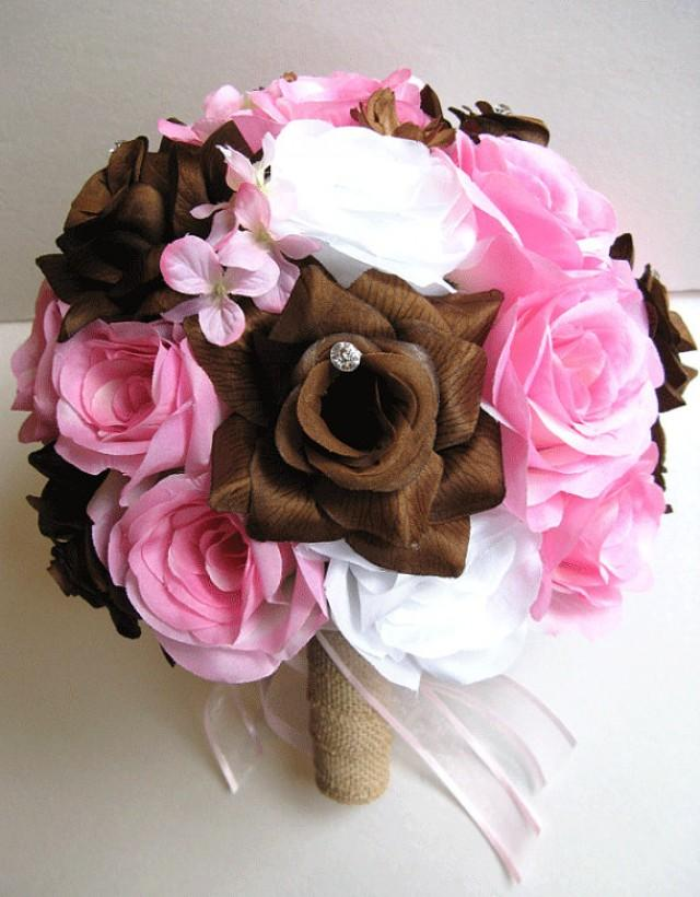 Free Shipping Wedding Bouquet Bridal Silk Flower Decoration 17 Pieces Package Pink Brown Burlap Country Centerpieces Rosesanddreams 2251274 Weddbook