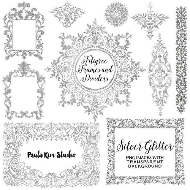 75 Off Sale Silver Glitter Digital Frame Flourish Clipart Silver