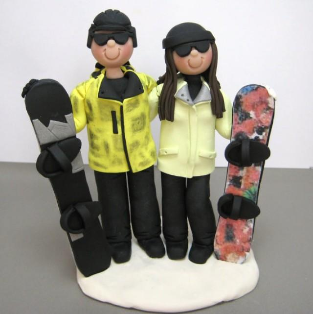 DEPOSIT For A Customized Snowboarding Skiing Wedding Cake Topper ...