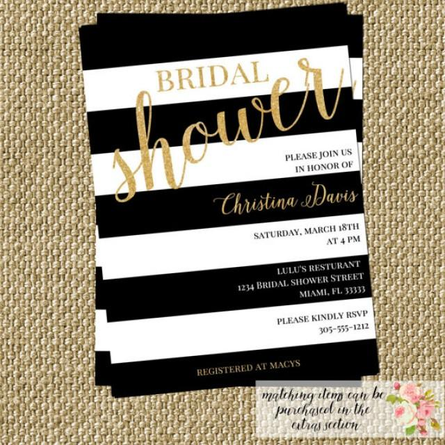 Gold Confetti Glitter Bridal Shower Invitation Modern Black White - Black and white striped birthday invitations