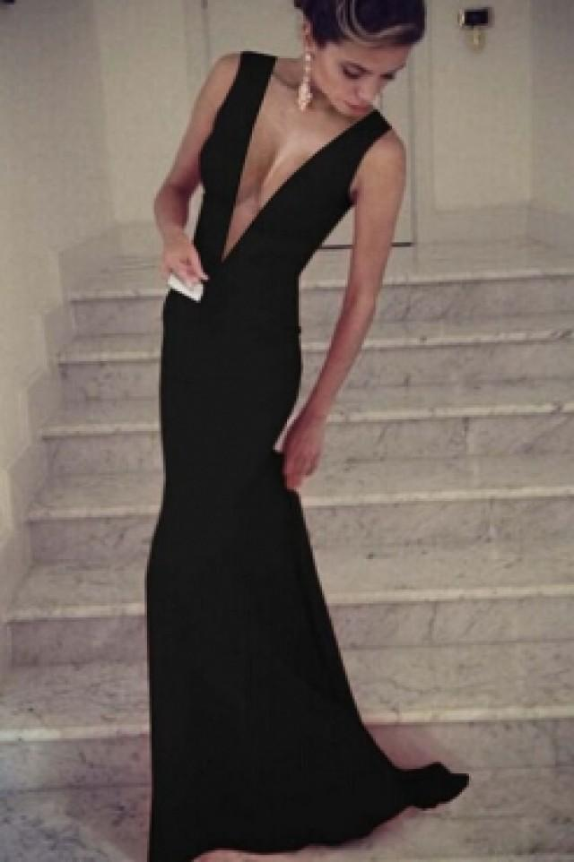 Maxi Plunge V Sleeveless Floor-length Black Evening Dress #2251992 ...