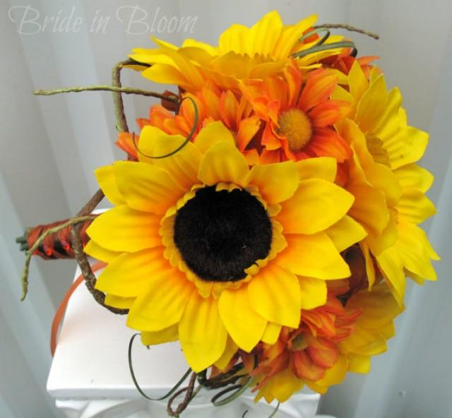 Sunflower wedding bouquet tangerine orange silk bridal bouquet sunflower wedding bouquet tangerine orange silk bridal bouquet 2252532 weddbook junglespirit Image collections