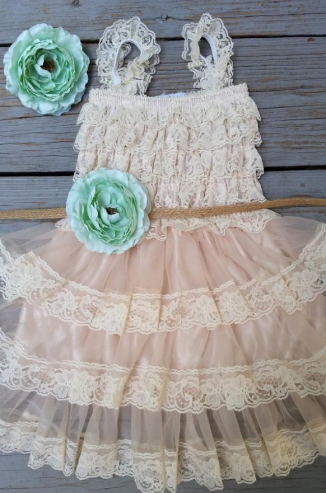 Mint Flower Girl Dress Lace Flower Girl Dress Mint Flower