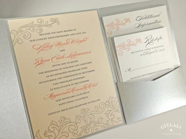 Pocket Folder Wedding Invitation Kits: Blush Pink Peach And Silver Wedding Invitations