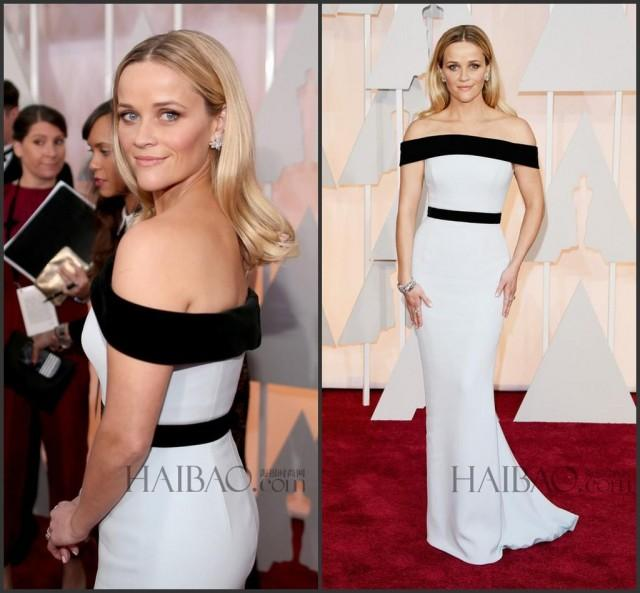 Reese witherspoon 87th oscar mermaid 2015 evening dresses sexy black and white woman dresses - Black and white red carpet dresses ...