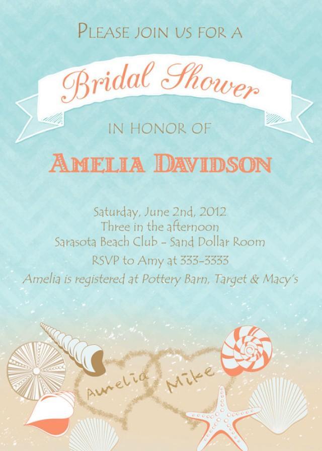 Beach Shells With Hearts Bridal Shower Invitation Printable 2253276 Weddbook