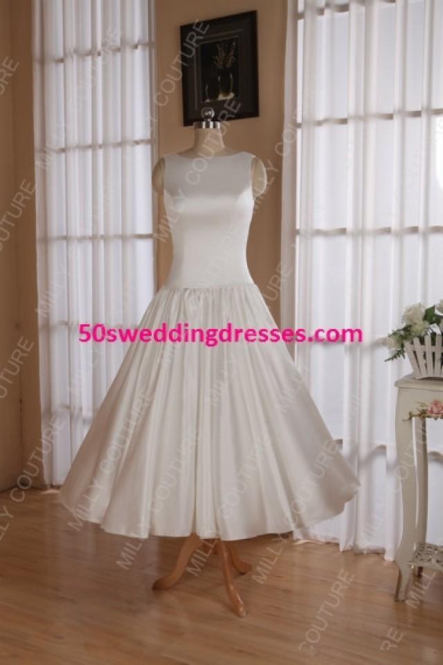 Modest Wedding Dress, 1950 Dress 50s Wedding, Short Wedding