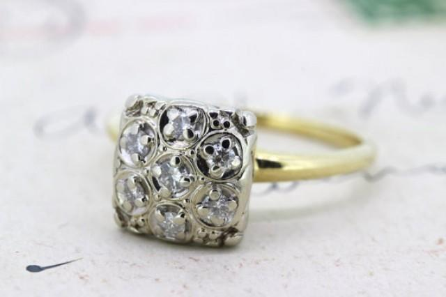 Vintage Engagement Ring Cluster Ring Diamond Ring Square